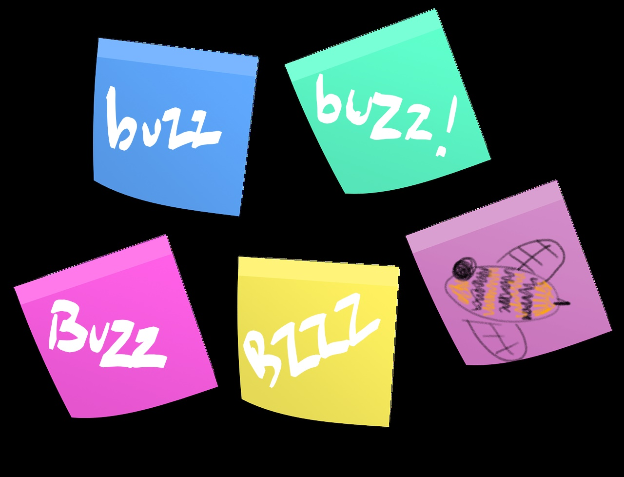 post it notes with buzz