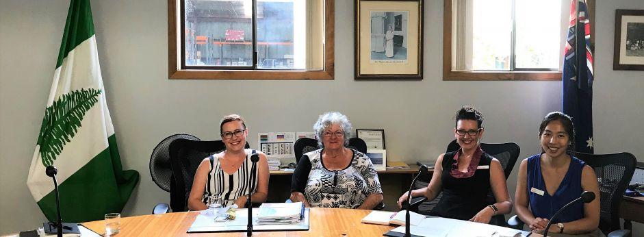 ThinkPlace designers Cybelle Lezez and Wai Ko meet Norfolk Island Mayor Robin Adams