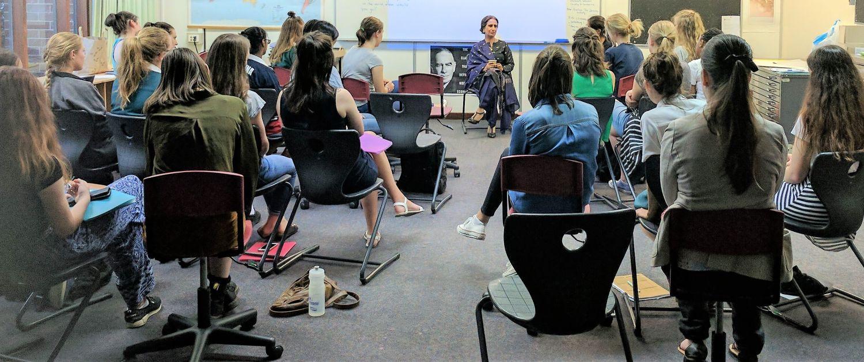A guest speaker addresses the Girls Leadership Network