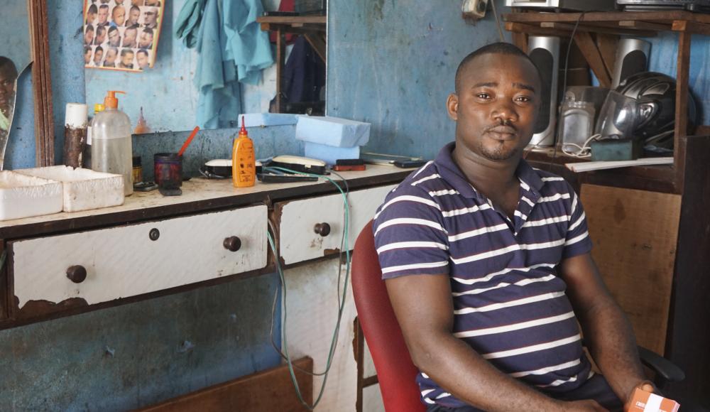 A barbershop in Cote D'Ivoire