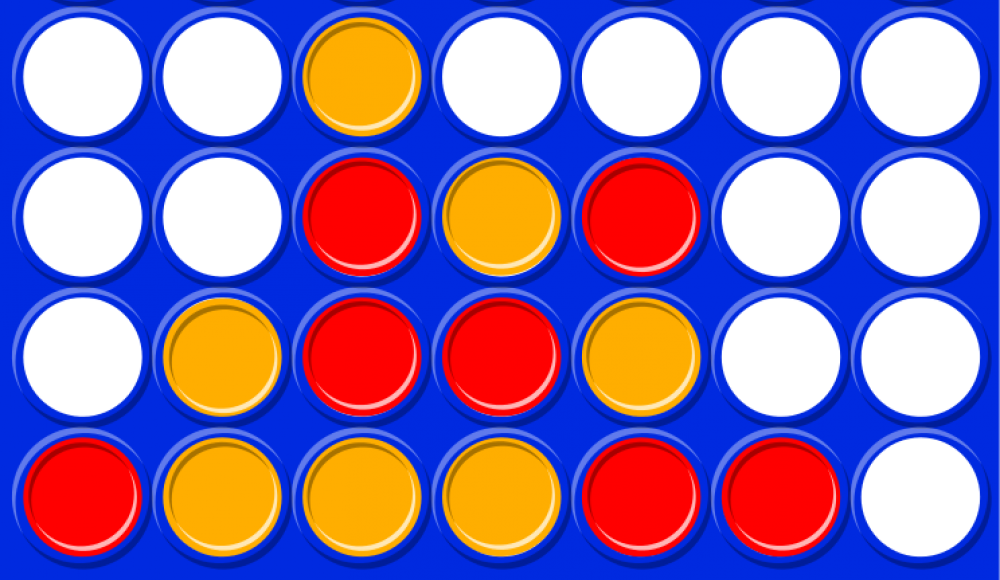 A connect four board game