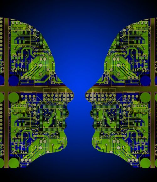 Two faces made of circuits